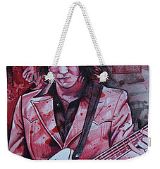 Weekender Tote Bag featuring the drawing Jack White by Joshua Morton
