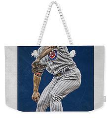 Jake Arrieta Chicago Cubs Art Weekender Tote Bag by Joe Hamilton