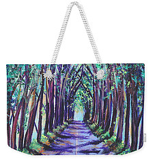 Weekender Tote Bag featuring the painting Kauai Tree Tunnel by Marionette Taboniar