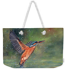Weekender Tote Bag featuring the painting Kingfisher by David Stribbling