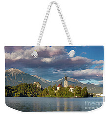 Weekender Tote Bag featuring the photograph Lake Bled Evening by Brian Jannsen