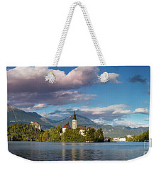 Weekender Tote Bag featuring the photograph Lake Bled Panoramic by Brian Jannsen