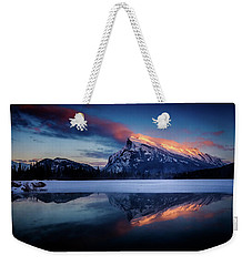Last Light On Mount Rundle Weekender Tote Bag
