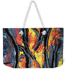 Weekender Tote Bag featuring the mixed media Leather And Flames by Angela Stout