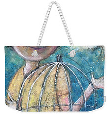 Weekender Tote Bag featuring the painting Let It Go by Eleatta Diver