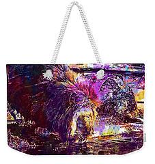 Weekender Tote Bag featuring the digital art Lion Cat Zoo Male Big Cat Africa  by PixBreak Art