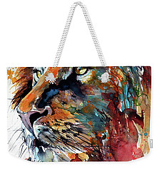 Weekender Tote Bag featuring the painting Lion by Kovacs Anna Brigitta
