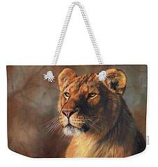 Lioness Portrait Weekender Tote Bag by David Stribbling