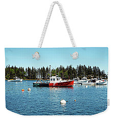 Weekender Tote Bag featuring the digital art Lobster By Night - Sleep By Day, Camden, Maine by Joseph Hendrix