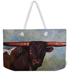 Weekender Tote Bag featuring the painting Longhorned Texan by Karen Kennedy Chatham