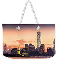 Lower Manhattan And The Statue Of Liberty At Sunrise Weekender Tote Bag