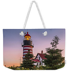 Maine West Quoddy Head Light At Sunset Weekender Tote Bag by Ranjay Mitra