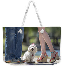 Maltese In The Middle Weekender Tote Bag by Andrea Auletta