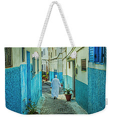 Man In White Djellaba Walking In Medina Of Rabat Weekender Tote Bag