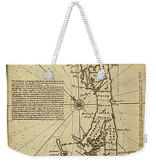 Map Of Bermuda 1750 Weekender Tote Bag by Andrew Fare