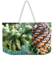 Weekender Tote Bag featuring the photograph Masterful Construction - Spruce Cone by Angie Rea