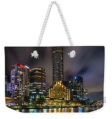 Melbourne City Skyline Over Yarra River  Weekender Tote Bag