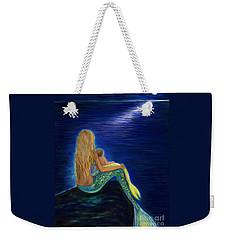 Weekender Tote Bag featuring the painting Mermaids Sweet Babies Moon by Leslie Allen