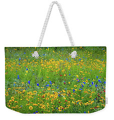 Weekender Tote Bag featuring the photograph Mixed Wildflowers In Texas 538 by D Davila