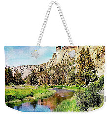Weekender Tote Bag featuring the digital art Monkey Face Rock - Smith Rock National Park by Joseph Hendrix