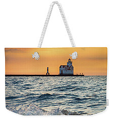 Weekender Tote Bag featuring the photograph Morning Dance On The Beach by Bill Pevlor