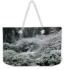 Morning Snow In The Garden Weekender Tote Bag by Don Schwartz