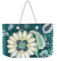 Weekender Tote Bag featuring the painting Moroccan Paisley Peacock Blue 1 by Audrey Jeanne Roberts