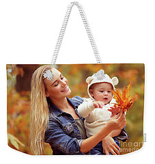 Mother With Son Enjoying Autumn Weekender Tote Bag