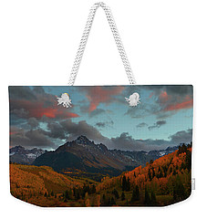Weekender Tote Bag featuring the photograph Mount Sneffels Sunset During Autumn In Colorado by Jetson Nguyen