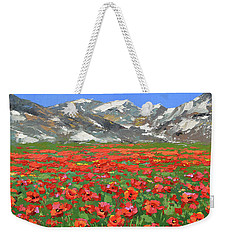 Weekender Tote Bag featuring the painting Mountain Poppies  by Dmitry Spiros