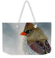 Weekender Tote Bag featuring the painting Mrs. Cardinal by Tracey Goodwin
