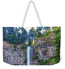 Weekender Tote Bag featuring the photograph Multnomah Falls Cliff by Jonny D