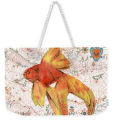 Weekender Tote Bag featuring the painting Nautical Treasures-g by Jean Plout