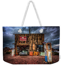 Nelson Nevada, Weathered Garage, Car, And Gas Pump Weekender Tote Bag