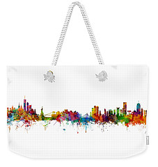 New York And Boston Skyline Mashup Weekender Tote Bag
