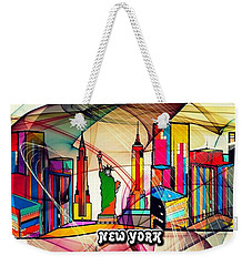 Weekender Tote Bag featuring the digital art New York By Nico Bielow by Nico Bielow