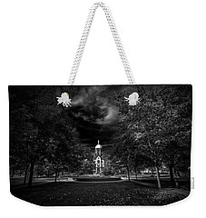 Notre Dame University Black White Weekender Tote Bag by David Haskett