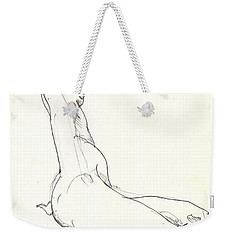 Weekender Tote Bag featuring the drawing Nude 11 by R  Allen Swezey