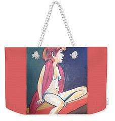 Weekender Tote Bag featuring the painting Nude With Red Shawl by Esther Newman-Cohen