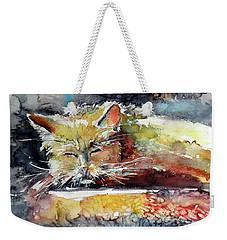 Old Cat Resting Weekender Tote Bag by Kovacs Anna Brigitta