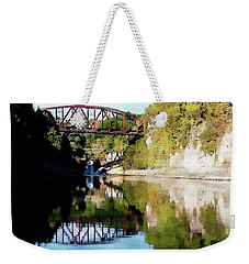 Old Railway Bridge Over The Winooski River Weekender Tote Bag by Joseph Hendrix