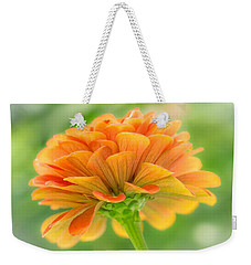Weekender Tote Bag featuring the photograph Orange Zinnia  by Jim Hughes