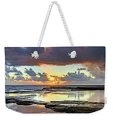 Overcast And Cloudy Sunrise Seascape Weekender Tote Bag
