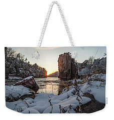 Weekender Tote Bag featuring the photograph  Palisades First Snow by Aaron J Groen