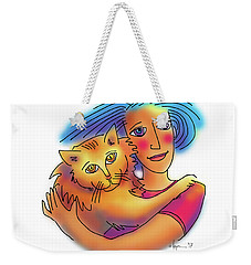Weekender Tote Bag featuring the drawing Pals by Angela Treat Lyon