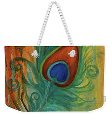 Weekender Tote Bag featuring the painting Peacock Feather by Agata Lindquist