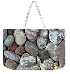 Pebbles In Earth Colors - Stone Pattern Weekender Tote Bag by Michal Boubin
