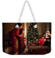 Peeking At Santa Weekender Tote Bag by Diane Diederich