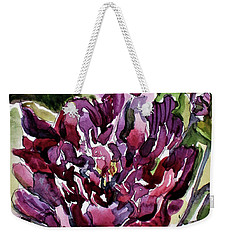 Weekender Tote Bag featuring the painting Peonies by Mindy Newman