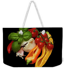Weekender Tote Bag featuring the photograph Peppers Basil Tomatoes Garlic by David French